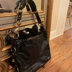Large Black Leather Coach Bag